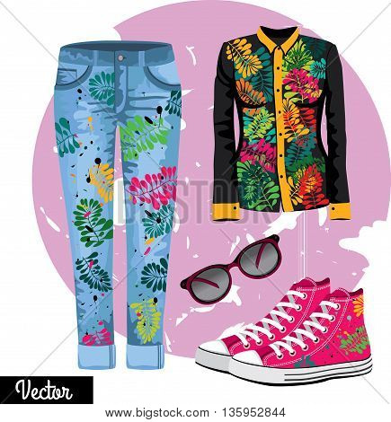 Illustration stylish and trendy clothing with tropic leaves. Jeans skinny, shirt with tropic leaves, sunglasses, sneakers.