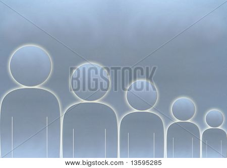 Group of people from tall to short