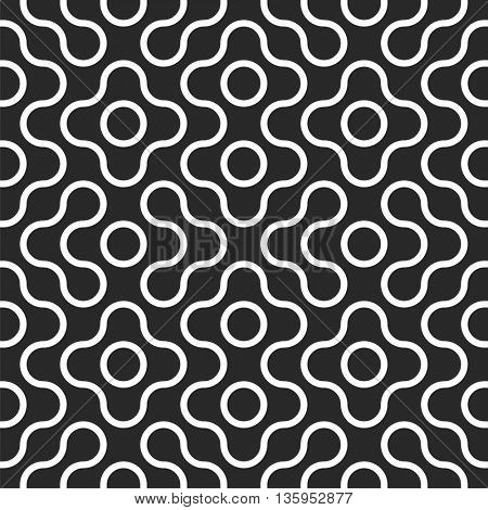 Seamless tangled techno pattern. Abstract rounded geometric shape. Vector black and white tangled round stripes background.