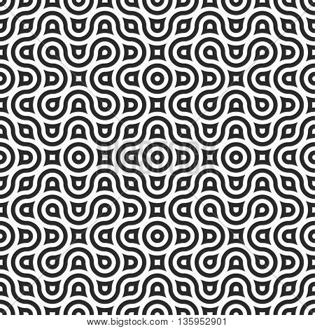 Seamless geometric wrapping pattern. Vector repeating shape. Monochrome background with optical puzzle pattern