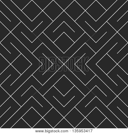 Vector seamless black and white irregular geometric shape pattern. Square blocks pattern abstract background.