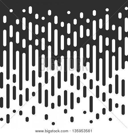 Vector Halftone Transition Abstract Wallpaper Pattern. Seamless Black And White Irregular Rounded Lines Background.