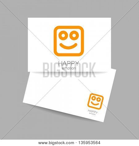 Happy logo template. Concept business card design for company. Positive emotions, happy games, entertainment sphere. Vector graphic illustration.