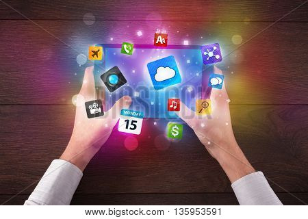 Caucasian business hands holding and working on tablet