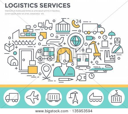 Logistic services concept illustration, thin line flat design