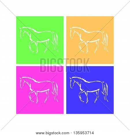 The image of a horse from the lines. Abstract image - a symbol of equestrian sport (dressage). Set of vector illustrations print