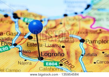 Logrono pinned on a map of Spain