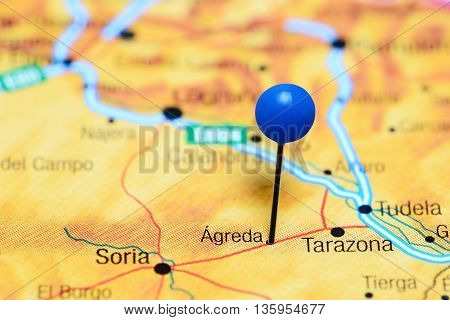 Agreda pinned on a map of Spain