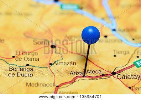 Ariza pinned on a map of Spain
