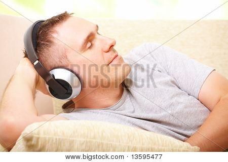 Man Listening Music With Headphones