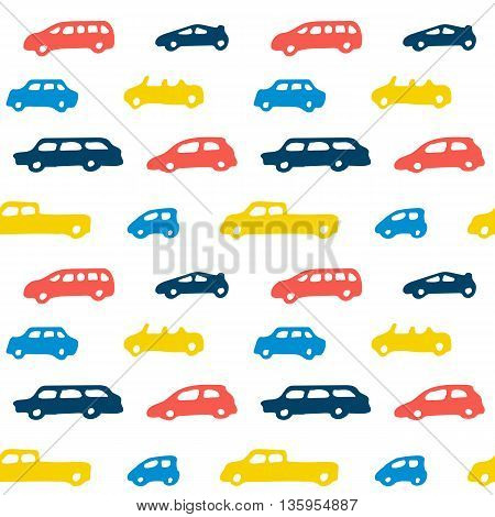 Car toy color seamless pattern background set