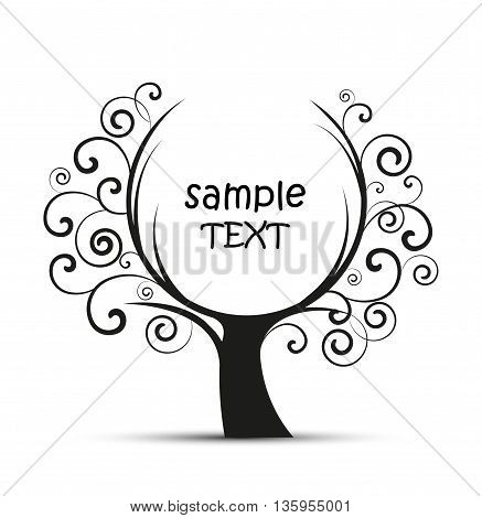 Vector illustration of decorative tree, natural silhouette on a white background