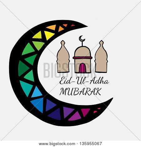Eid Mubarak lettering with abstract mosque and moon on the white background
