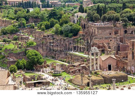 Aerial view of the Roman Forum (Foro Romano) at the center of the city of Rome, Italy