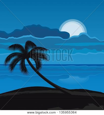 Vector illustration Night Summer beach with palm tree, night landscape with moon