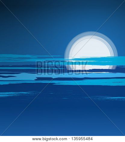 Vector illustration of a summer night landscape with the moon and the sea
