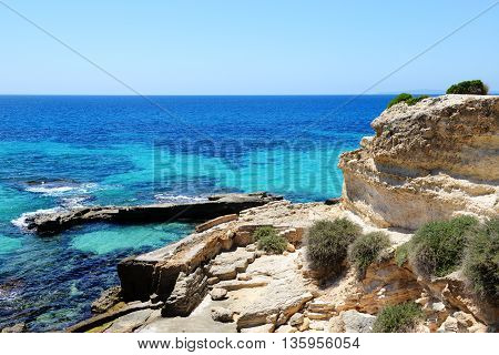 The beach and turquoise water on Mallorca island Spain