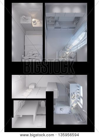3D Rendering Living Room, Kitchen, Hall, Bedroom, Bathroom Interior Design.