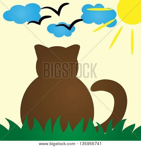 Cat Silhouette rear view. Cat peacefully resting in the grass. Clouds sun a schematic image of a bird. Colorful poster card for kids. Simple abstract illustration.
