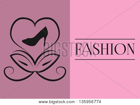 Postcard poster. Abstract flower bud in a heart shape silhouette shoes with heels. Text the word fashion. Black picture purple pink background.
