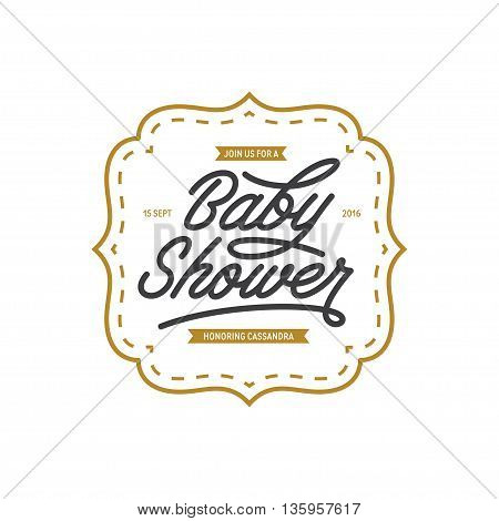 Baby shower invitation template. Hand lettering calligraphy. Vector vintage illustration.