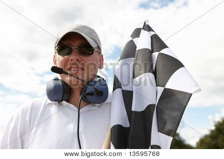 Flagman With Checkered Flag