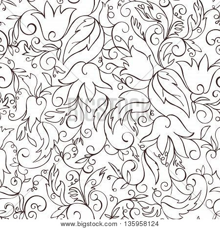 Abstract seamless pattern with hand drawn flowers. Vector