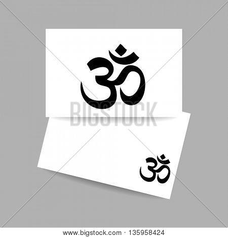 Om - hinduism symbol. Concept business card design for yoga studio, meditation center. Vector graphic illustration.