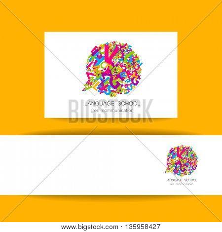 Concept identity presentation design for Language School, translation, linguistic center, language teachers, international communication club. Vector.