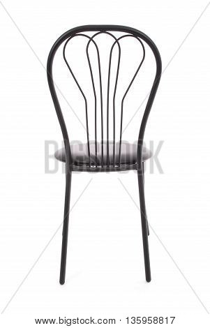 The office chair from black leather isolated on white
