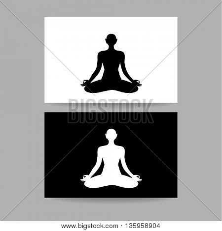 Yoga Lotus. Concept business card design for  yoga center, spa and itc. Yoga, Health Care, Beauty, Spa, Relax, Meditation, Nirvana concept symbol. Vector graphic illustration.