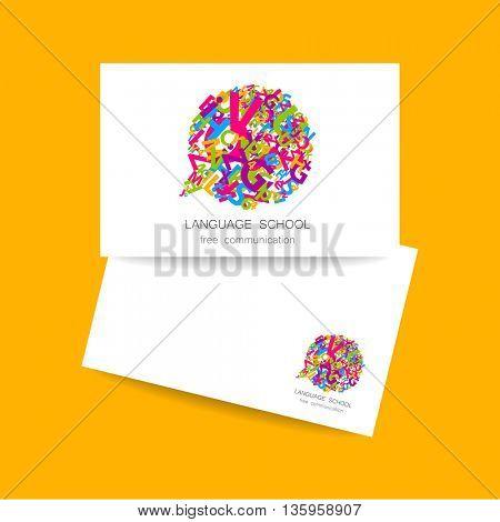 Concept business card design for Language School, translation, linguistic center, language teachers, international communication club. Vector.