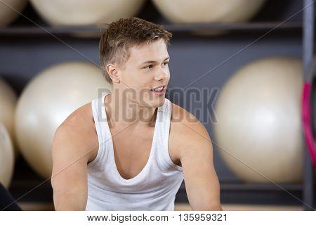 Man Looking Away In Health Club