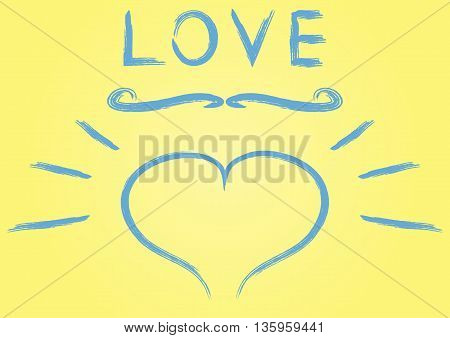Illustration of a blue brush. Heart twirl inscription Love smear spray. Yellow background. Abstract vector.