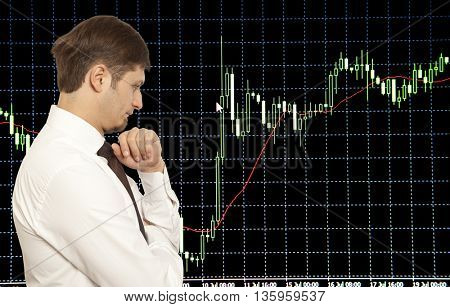 Businessman stock trader looking at monitors
