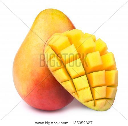 Mango with half sliced to cubes isolated on white background, with clipping path