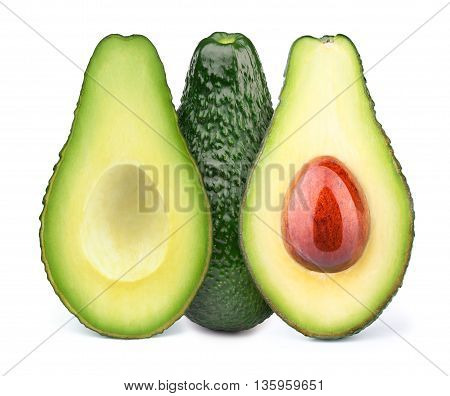 Group of three avocados isolated on white, with clipping path