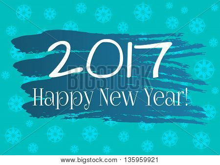 Abstract background. Round snowflakes brush strokes. Text 2017 Happy New Year! Postcard poster background for congratulations sticker design for gifts. Blue and white illustration.