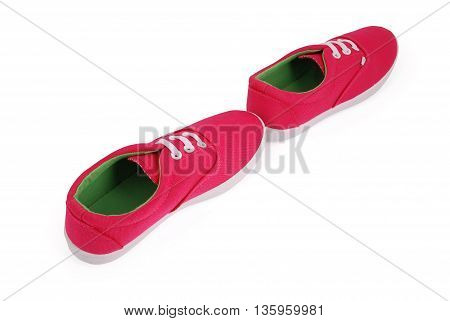 Red girl sneakers white background with soft shadow. Clipping path