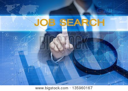 Businessman hand touching JOB SEARCH button on virtual screen