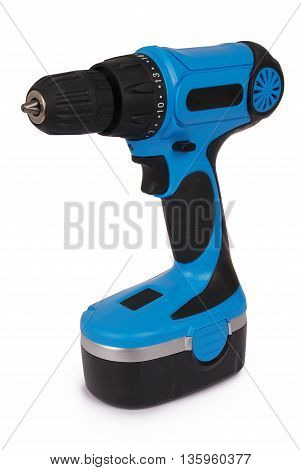New blue cordless screwdriver isolated with path