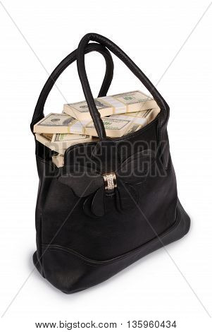 Black handbag full of money isolated on white. Photo with clipping path