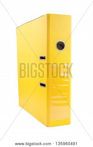 Yellow office folder isolated on white background with clipping path