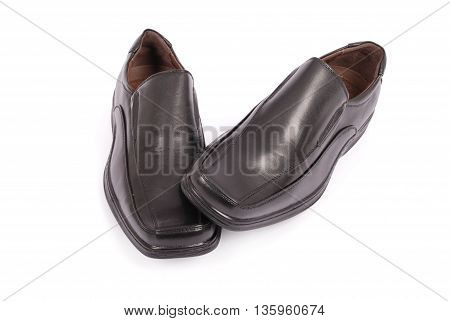 Leather shoes for men isolated on white background with soft shadow (Clipping path)