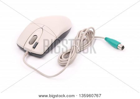 White computer optical mouse isolated on white background with soft shadow