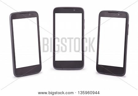 Three Smart Phone isolated on white. Six clipping path inside separately for phone and screen.