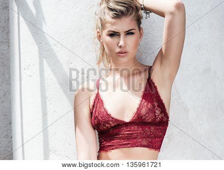 Sensual Young Girl Posing Outdoor.