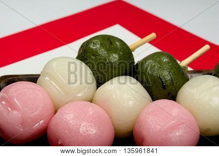 It is a rice cake to eat in the peach festival in Japan.