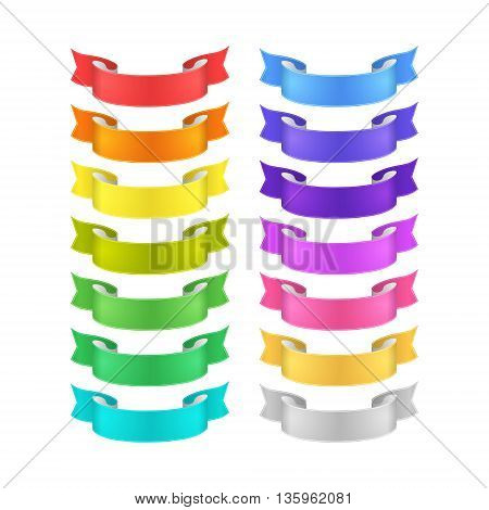 isolated vector colored satin ribbons set - red orange yellow green blue purple violet gold golden silver