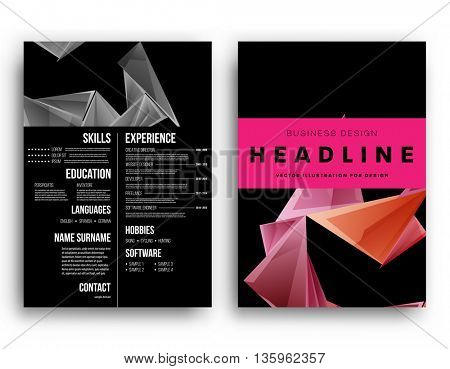 Resume Template. Geometric Pattern Backgrounds.